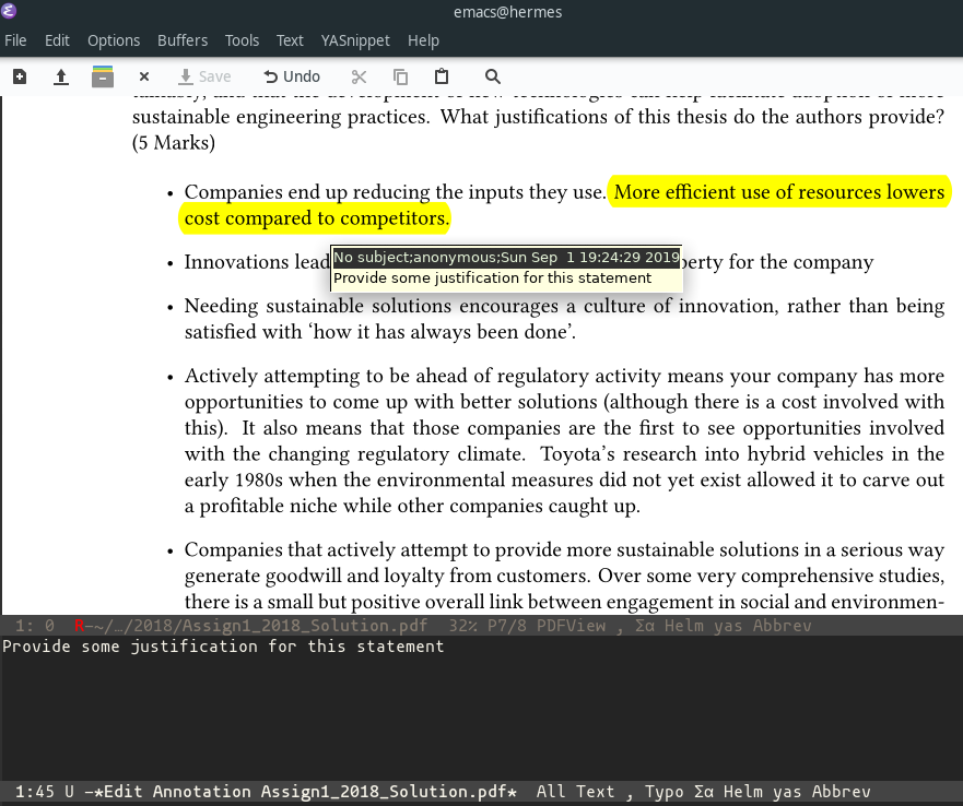 Annotating in pdf-tools